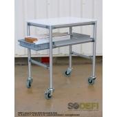 LEAN CONCEPT - Desserte avec plateau haut et bac extractible. Structure modulaire et ergonomique conçue à partir de profilés aluminium et connecteurs. SODEFI